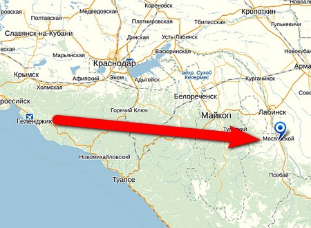 какой маршрут дороги из ростова-на-дону в мостовской район краснодарского края