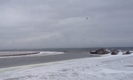 Анапа в снегу берег моря