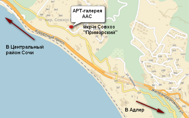 Карта проезда к арт-галерее