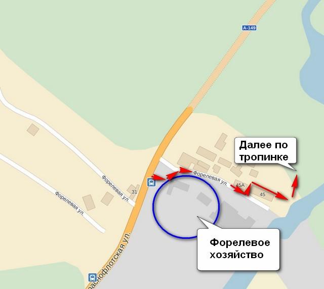 Карта через Форелевое хозяйство