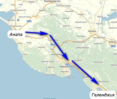 Карта из Анапы в Геленджик