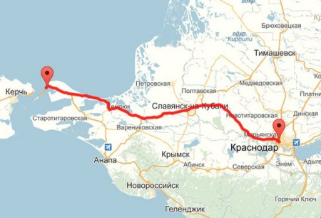 Карта Краснодар - Крым