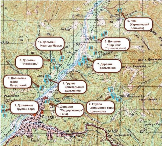 Карта дольменов