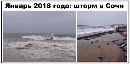 Шторм в Сочи январь 2018 года