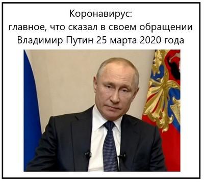 Коронавирус, главное, что сказал в своем обращении Владимир Путин 25 марта 2020 года