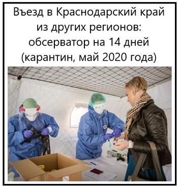 Въезд в Краснодарский край из других регионов обсерватор на 14 дней, карантин, май 2020 года
