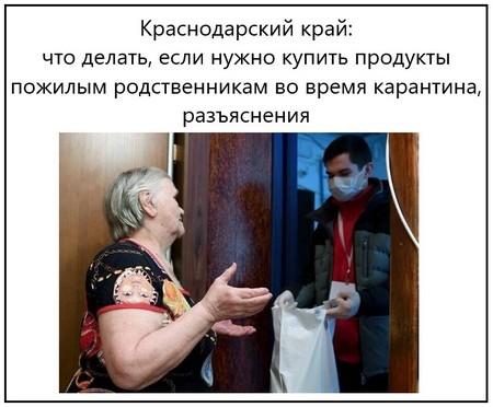 Краснодарский край, что делать, если нужно купить продукты пожилым родственникам во время карантина, разъяснения