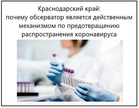 Краснодарский край, почему обсерватор является действенным механизмом по предотвращению распространения коронавируса