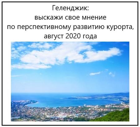 Геленджик выскажи свое мнение по перспективному развитию курорта, август 2020 года