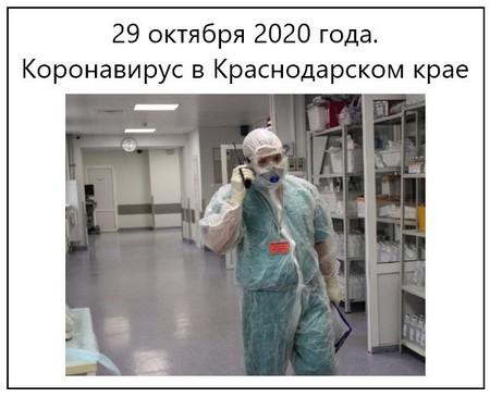 29 октября 2020 года. Коронавирус в Краснодарском крае