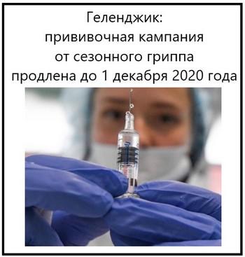 Геленджик, прививочная кампания от сезонного гриппа продлена до 1 декабря 2020 года